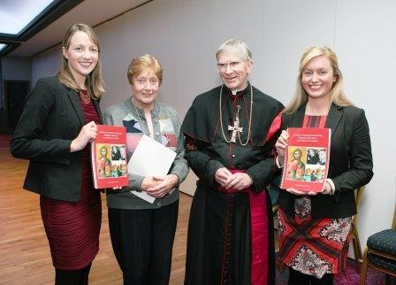 The first ever all Ireland Religious Education Curriculum for Catholic Primary Schools, north and south, was Launched in the Diocese of Cork and Ross by Bishops John Buckley in the Oriel House Hotel, also in picture, L to R., Emily O'Regan, Teacher at Kilbrittain N.s., Sr. Geraldine Howard, Co-Ordinator of Primary Religious Education in the Diocese of Cork/Ross and Aoife O'Callaghan, Teacher St., Joseph's N.S. Glanmire. Picture, Tony O'Connell Photography.